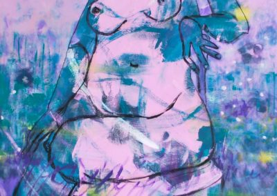 """In the Garden"", rosa Akt | Acryl auf Leinwand | 120 x 80cm"