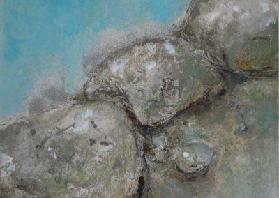 Steinbild bewegt | Pigmente und Sand auf Holz | 60 x 60 cm