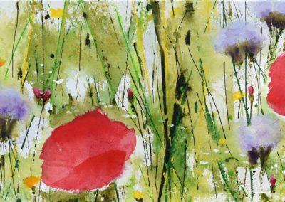 Zyklus Wiese | Magerwiese mit Mohn | Acryl auf Leinwand | 90 x 30 cm | verkauft