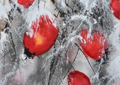 Hagebutten im Schnee | Acryl auf Leinwand | 80 x 60 cm