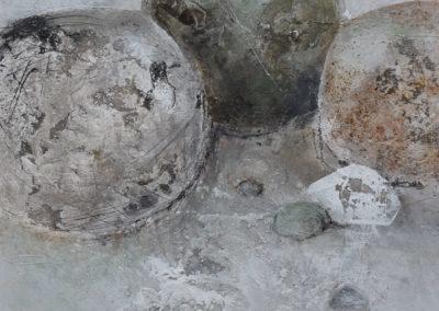 Steine weiss | Pigmente und Sand auf Holz | 40x40