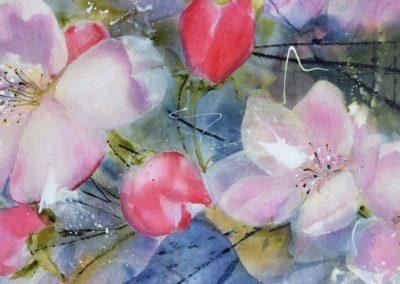 Apfelblüten | Acryl auf Leinwand | 100 x 50 cm  |  verkauft