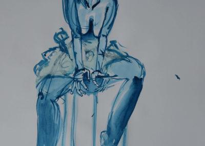 blauer Akt auf dem Sessel