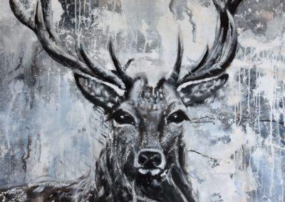 Hirsch 2   Mischtechnik auf Leinwand   80 x 80 cm