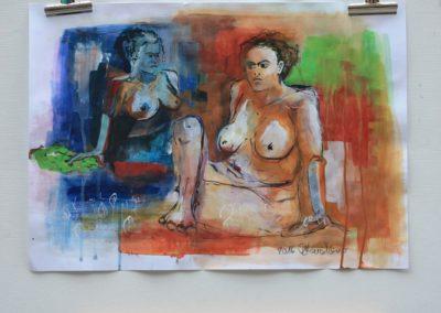 Badende Frauen, Akt | Acryl auf Papier | A3