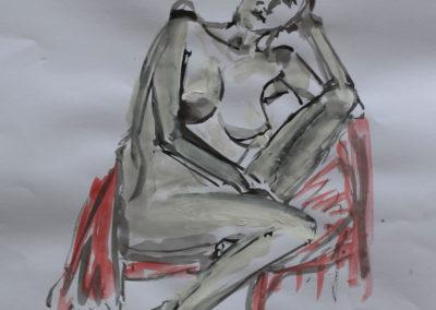 Akt weiblich auf dem Sessel