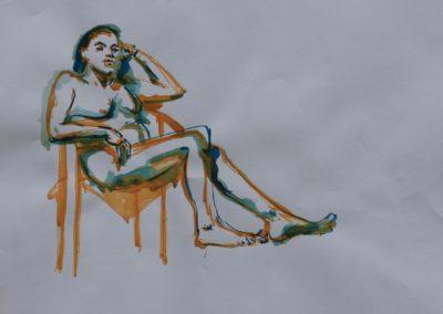 Akt weiblich im Stuhl