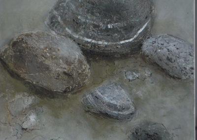 Steine grau | Pigmente und Sand auf Holz | 40 x 40 cm | verkauft