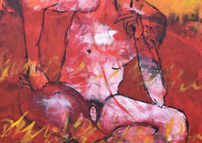 """Think"", roter Akt | Acryl auf Leinwand | 80x80cm|"