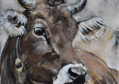 Braunvieh |  Mischtechnik mit Goldpigment auf Leinwand  |  80x80cm  |  verkauft
