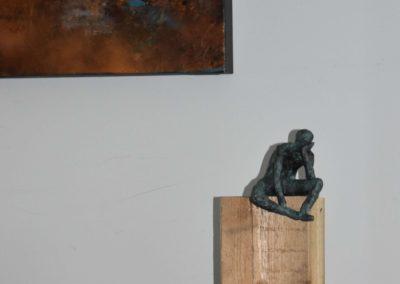 Bronze Figur auf Holzsockel